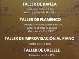 Semana de puertas abiertas en la Escuela Municipal de Música del 22 al 26 de abril con talleres de danza, flamenco, piano, ukelele y agrupaciones musicales